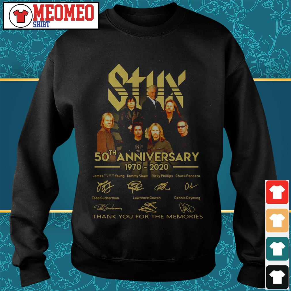 Styx band 50th anniversary 1970-2020 signatures thank you for the memories Sweater