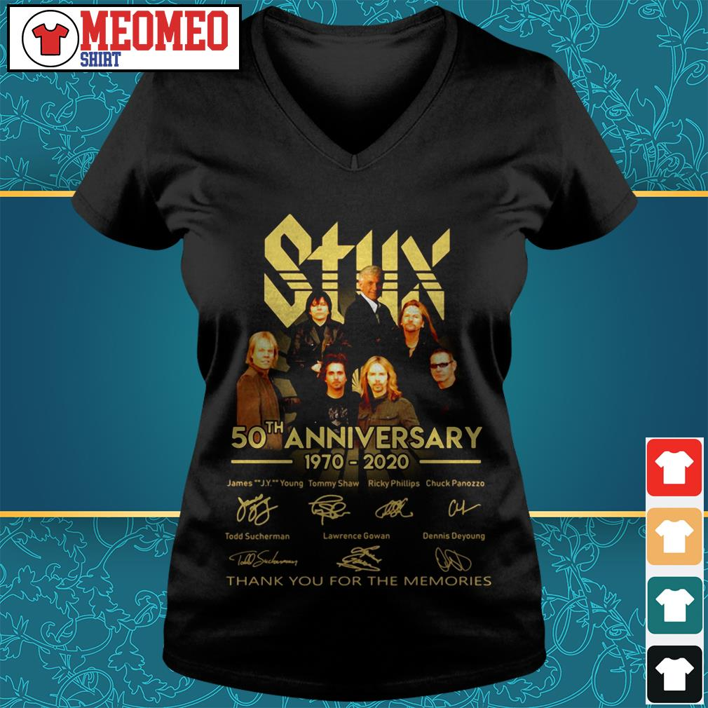 Styx band 50th anniversary 1970-2020 signatures thank you for the memories V-neck t-shirt