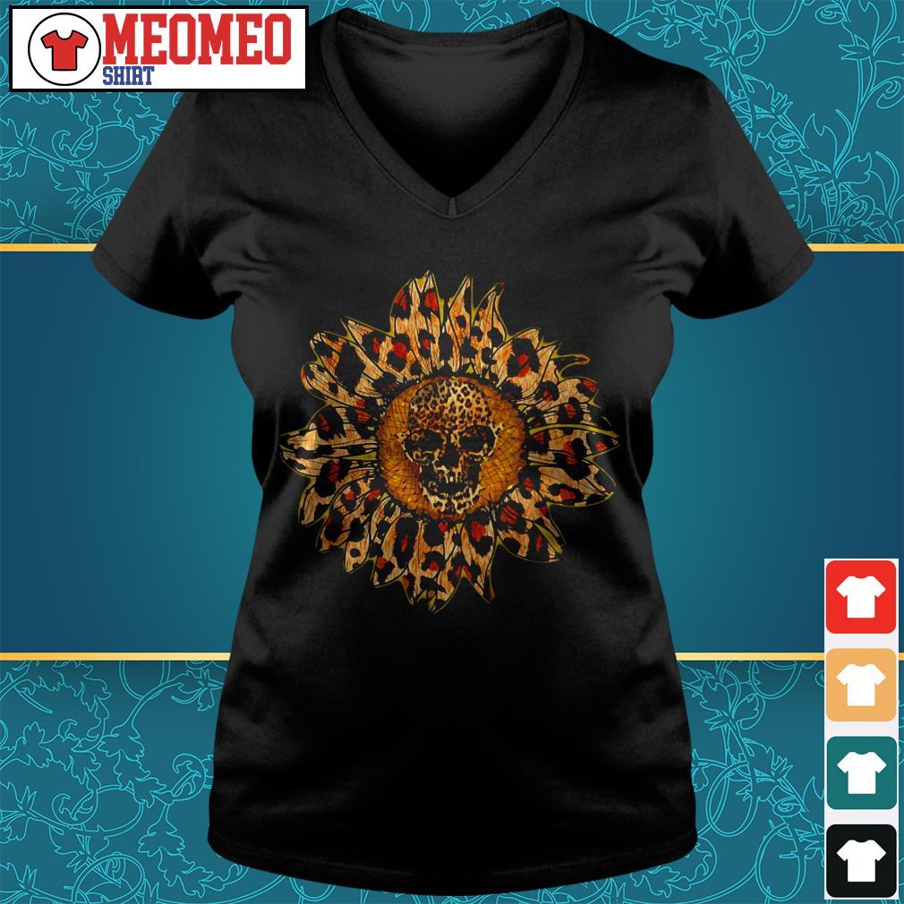 Sunflower skull V-neck t-shirt