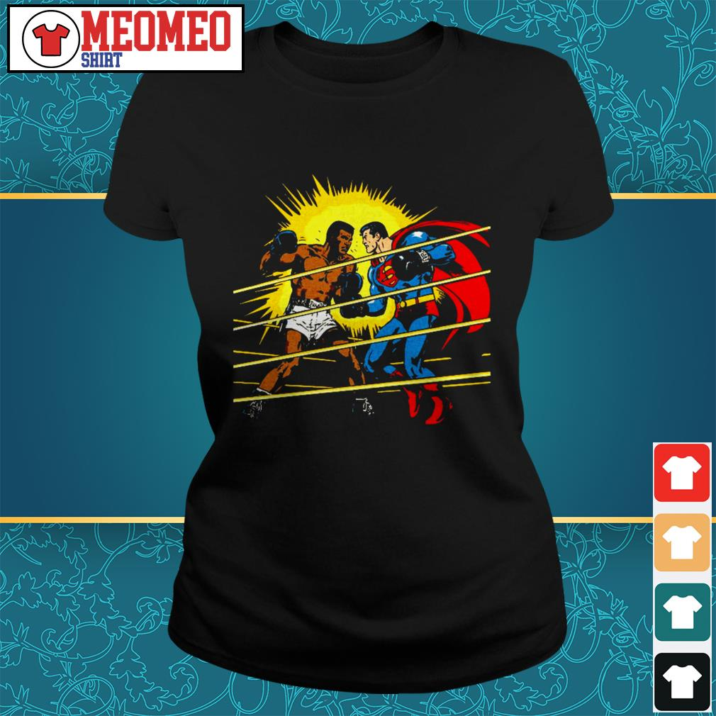 Superman Versus Muhammad Ali Boxing Match Comic Book Ladies tee