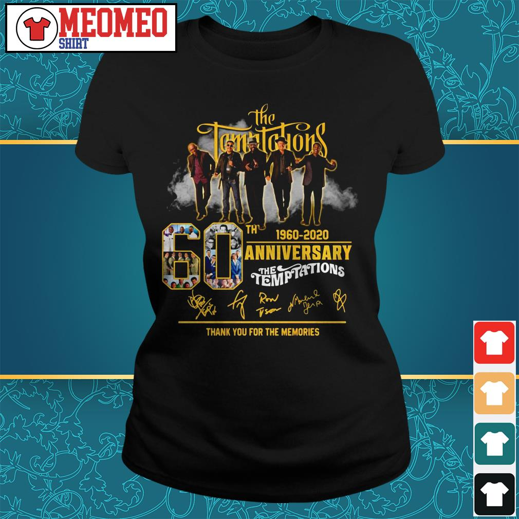 The Temptations band 60th anniversary 1960-2020 signatures thank you for the memories ladies tee