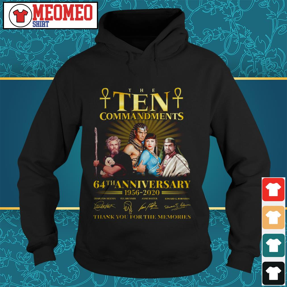 The ten commandments 64th anniversary 1956-2020 signatures thank you for the memories Hoodie