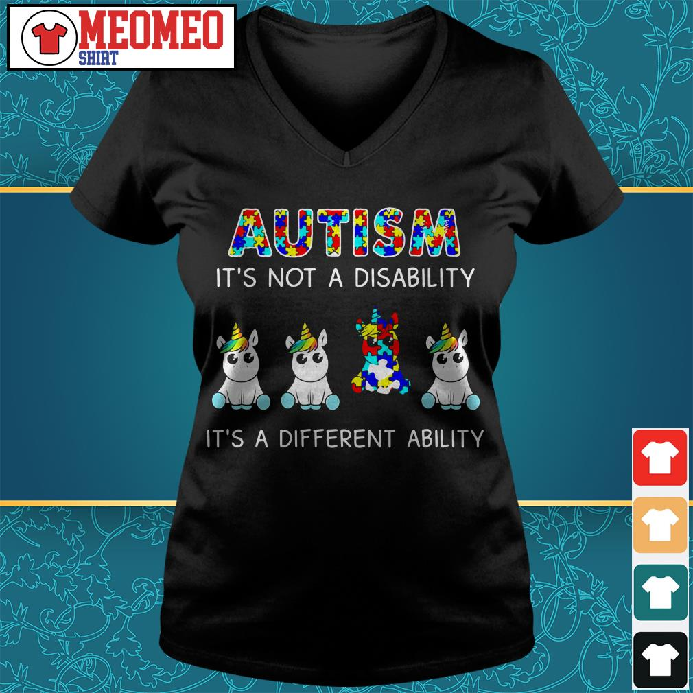 Unicorn Autism it's not a disability it's a different ability V-neck t-shirt