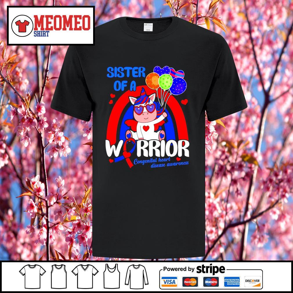 Unicorn sister of a warrior congenital heart disease awareness shirt