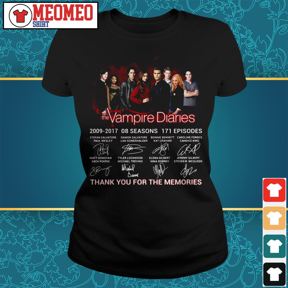 The Vampire diaries 2009-2017 08 seasons 171 episodes signatures thank you for the memories Ladies tee