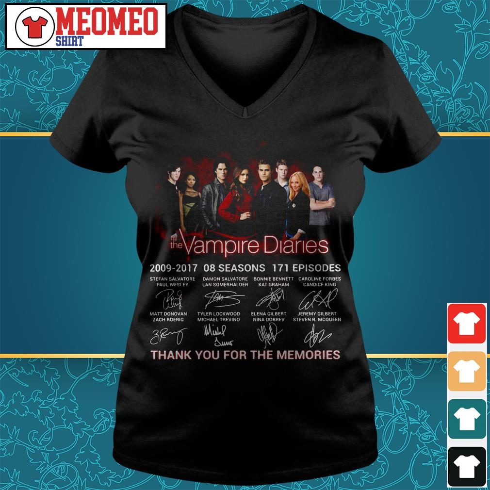 The Vampire diaries 2009-2017 08 seasons 171 episodes signatures thank you for the memories V-neck t-shirt