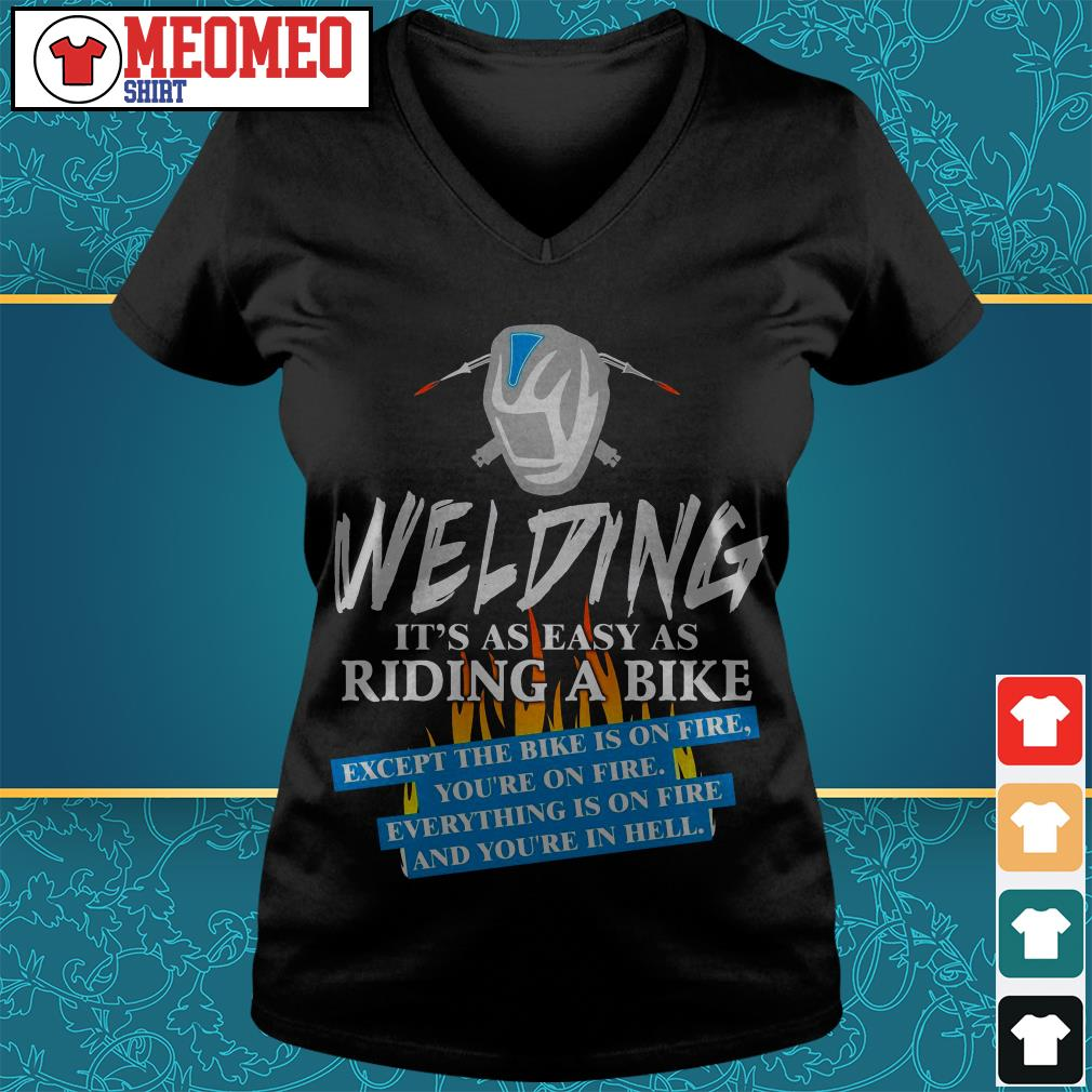 Welding it's as easy as riding a bike V-neck t-shirt